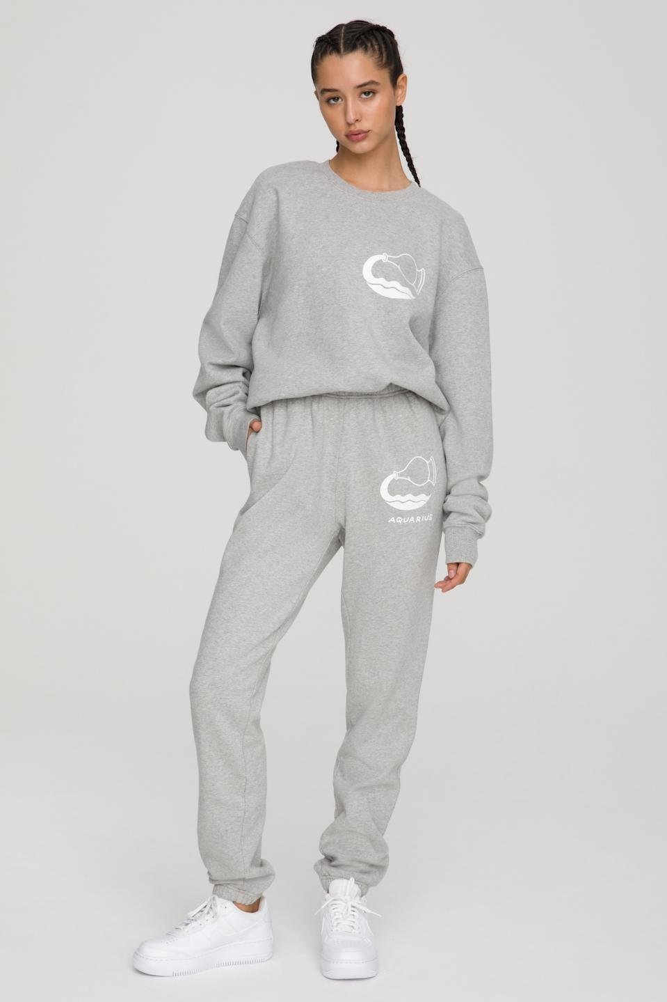 The Aquarius Zodiac Set from Good American. Sweatshirt $124 and sweatpants, $105.