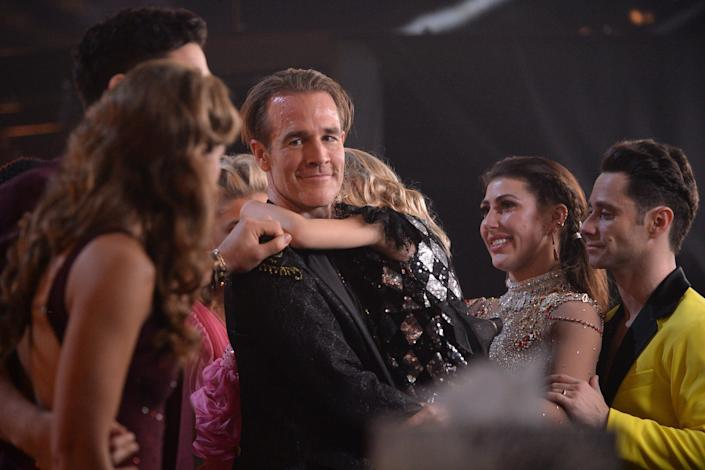 """James Van Der Beek with his partner Emma Slater (right) on """"Dancing with the Stars."""" (Photo: Eric McCandless via Getty Images)"""
