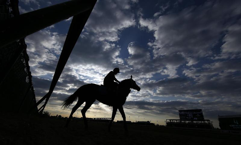 A horse goes for a morning workout at Churchill Downs Saturday, May 3, 2014, in Louisville, Ky. The 140th Kentucky Derby will be run on Saturday at Churchill Downs. The scheduled post time is 6:24 p.m. EDT. (AP Photo/Matt Slocum)