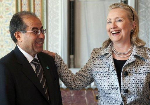 US Secretary of State Hillary Clinton (R) meets with Mahmud Jibril, Chairman of the Libyan Interim National Transitional Council, in Istanbul. Western and regional powers have boosted Libyan rebels battling Moamer Kadhafi by designating them as the country's legitimate rulers, a move that gives them access to vital funds