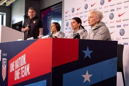May 24, 2019; New York, NY, USA; Carli Lloyd , Alex Morgan and Megan Rapinoe take questions during the U.S. Women's National Team World Cup media day at Twitter NYC. Mandatory Credit: Dennis Schneidler-USA TODAY Sports
