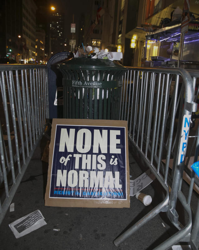 <p>Discarded sign from Women's March in New York City on Jan. 21, 2017. (Photo: Gordon Donovan/Yahoo News) </p>