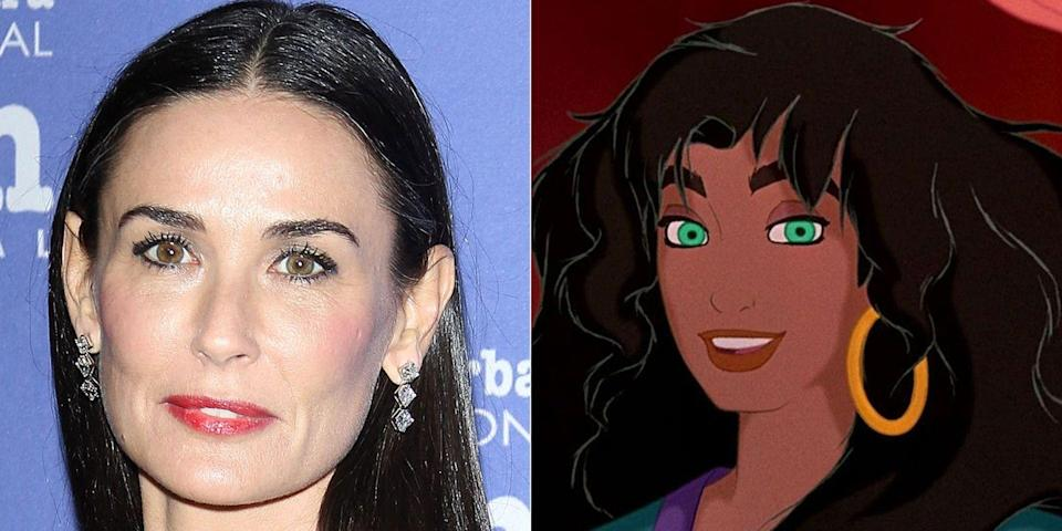 """<p>Demi Moore provided the voice for the beautiful and kind Emseralda in the 1996 flick. She got a little help with the singing though—""""God Help the Outcasts"""" came courtesy of a woman named Heidi Mollenhauer.</p>"""
