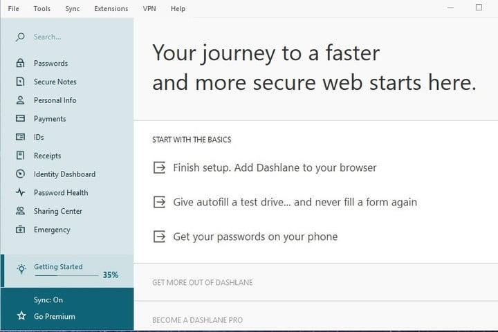 Dashlane windows 10 app screenshot