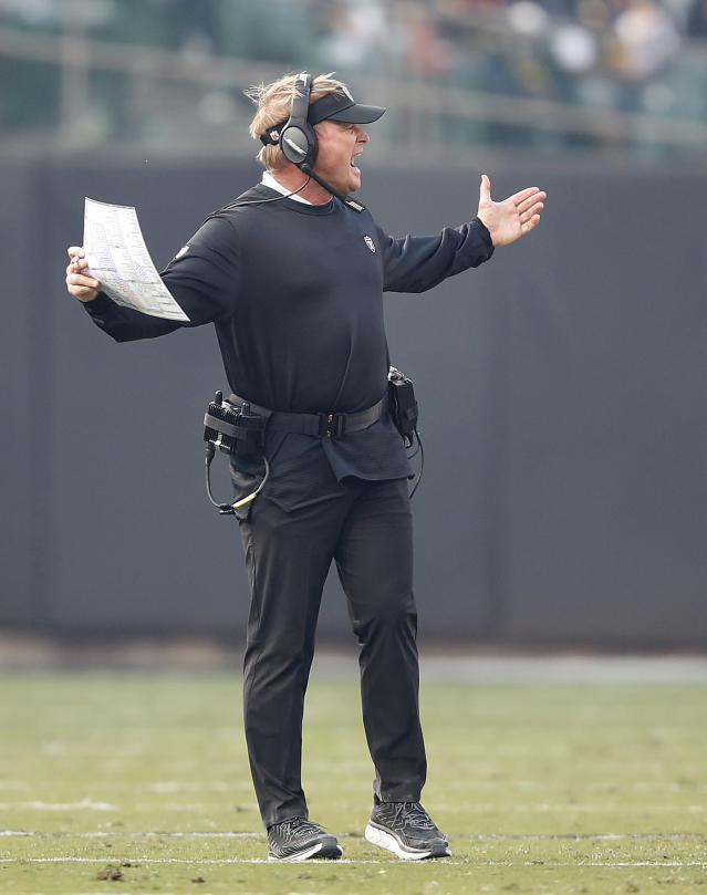 Oakland Raiders head coach Jon Gruden gestures during the second half of an NFL football game between the Raiders and the Los Angeles Chargers in Oakland, Calif., Sunday, Nov. 11, 2018. (AP Photo/John Hefti)