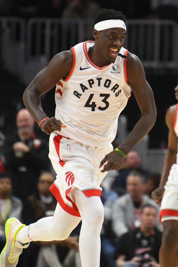 Toronto Raptors forward Pascal Siakam reacts after scoring against the Atlanta Hawks during the first quarter of an NBA basketball game Monday, Jan. 20, 2020, in Atlanta. (AP Photo/John Amis)