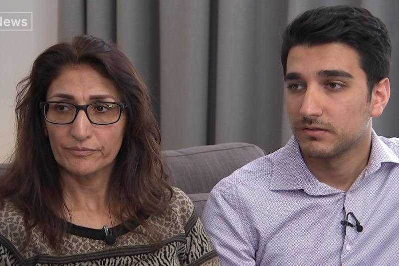 Brave: Farhad Neda and his mother Flora who survived the Grenfell fire: PA