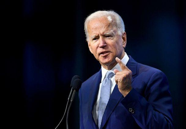 PHOTO: Democratic 2020 presidential candidate and former Vice President Joe Biden addresses the crowd at the New Hampshire Democratic Party state convention in Manchester, New Hampshire, Sept. 7, 2019. (Gretchen Ertl/Reuters)