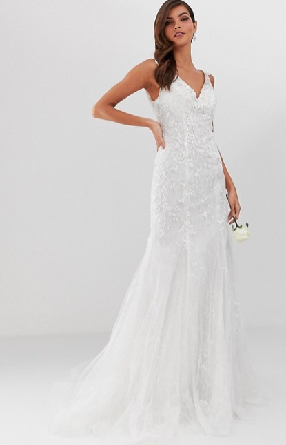 ASOS embroidered mesh over lace fishtail wedding dress