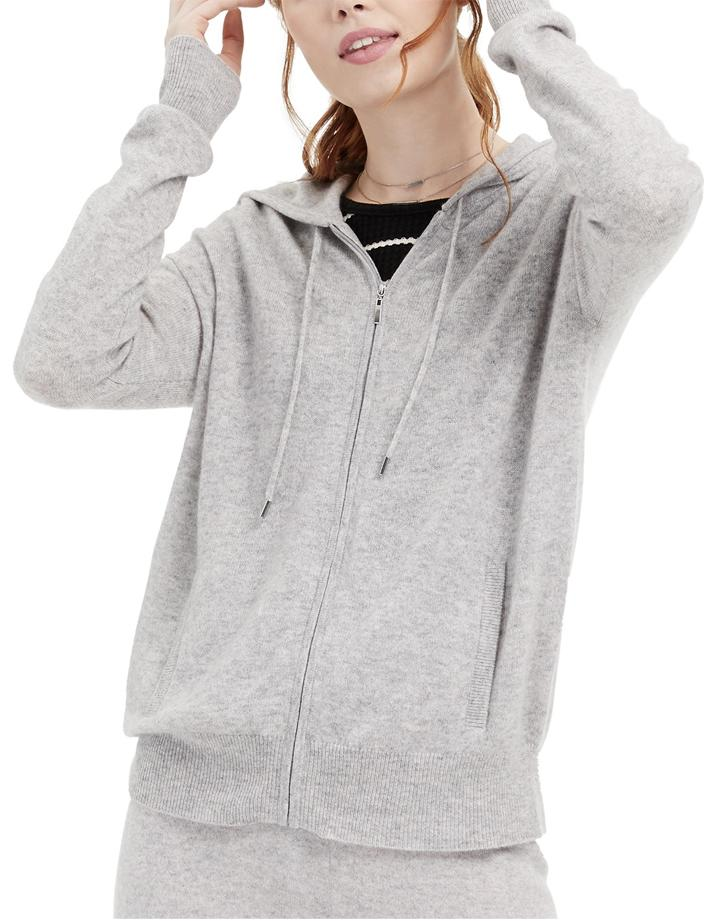 Charter Club Cashmere Zip Front Hoodie
