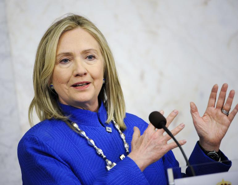 U.S. Secretary of State Hillary Rodham Clinton talks to media at a press conference at the Swedish government offices Rosenbad in Stockholm, Sweden, Sunday, June 3, 2012. (AP Photo/Erik Martensson) SWEDEN OUT