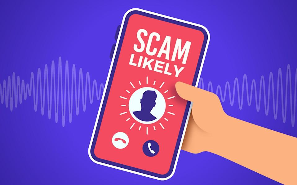 Scam telephone call receiving a marketing or sales or political advertising phone call.