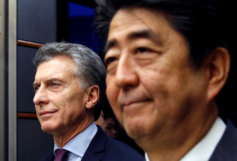 Argentina's President Macri and Japan's PM Abe attend joint news conference at Abe's official residence in Tokyo