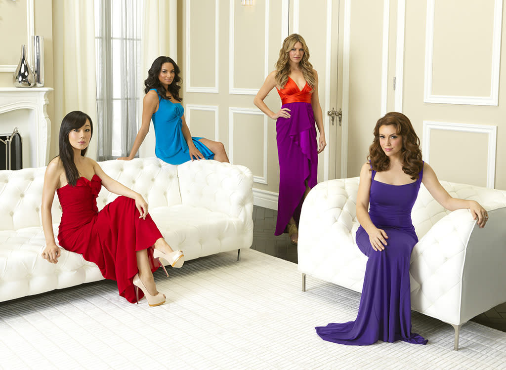 "ABC's ""Mistresses"" stars Yunjin Kim as Karen Kim, Rochelle Aytes as April Malloy, Jes Macallan as Josslyn Carver and Alyssa Milano as Savannah (""Savi"") Davis."