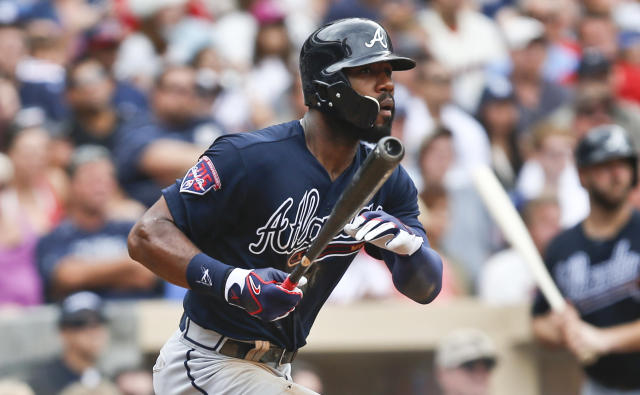 Atlanta Braves' Jason Heyward watches his line drive down the right field line stay fair for an RBI triple against the San Diego Padres in the seventh inning of a baseball game Sunday, Aug. 3, 2014, in San Diego. (AP Photo/Lenny Ignelzi)