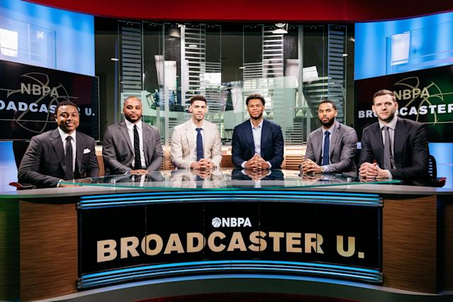 "The 2019 Broadcaster U. class from left to right, Isiah Thomas, Jameer Nelson, <a class=""link rapid-noclick-resp"" href=""/nba/players/5681/"" data-ylk=""slk:Georges Niang"">Georges Niang</a>, Justin Anderson, <a class=""link rapid-noclick-resp"" href=""/nba/players/4471/"" data-ylk=""slk:DJ Augustin"">DJ Augustin</a> and <a class=""link rapid-noclick-resp"" href=""/nba/players/4922/"" data-ylk=""slk:Jon Leuer"">Jon Leuer</a>. (Photo courtesy Hana Asano)"