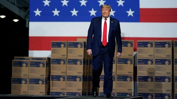 PHOTO: President Donald Trump arrives to speak after a tour of Owens & Minor Inc., a medical supply company, May 14, 2020, in Allentown, Pa. (Evan Vucci/AP)