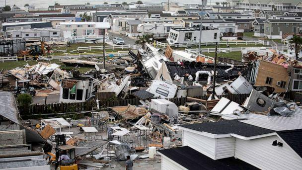 PHOTO: Mobile homes are upended and debris is strewn about at the Holiday Trav-l Park, Sept. 5, 2019, in Emerald Isle, N.C, after a possible tornado generated by Hurricane Dorian struck the area. (Julia Wall/The News & Observer via AP)