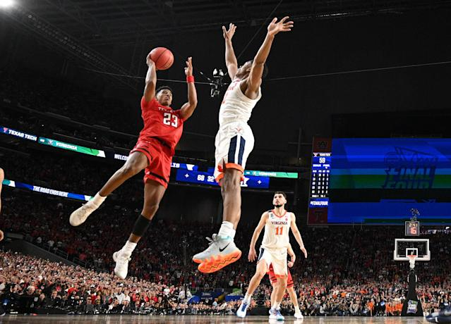 Jarrett Culver #23 of the Texas Tech Red Raiders drives to the basket against the Virginia Cavaliers during the second half of the 2019 NCAA men's Final Four National Championship game at U.S. Bank Stadium on April 08, 2019 in Minneapolis, Minnesota. (Photo by Brett Wilhelm/NCAA Photos via Getty Images)