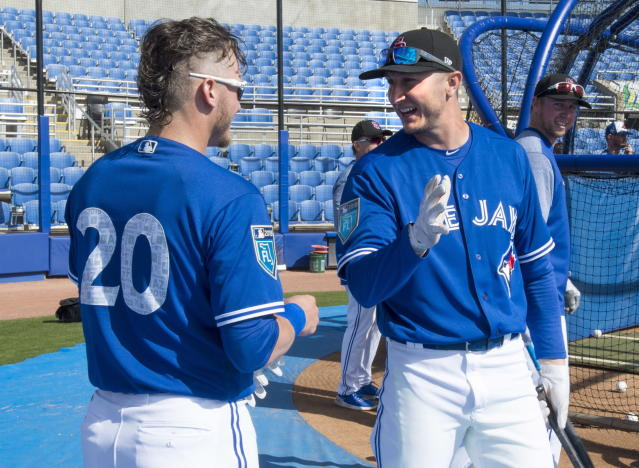 Toronto Blue Jays' Josh Donaldson, left, talks with teammate Troy Tulowitzki at baseball spring training in Dunedin, Fla in February (The Canadian Press via AP).