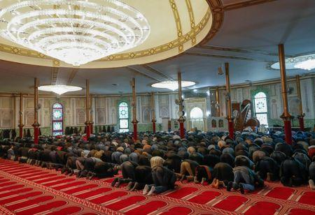 Muslims pray at the Brussels' Great Mosque in Brussels, Belgium January 19, 2018. Picture taken January 19, 2018. REUTERS/Yves Herman