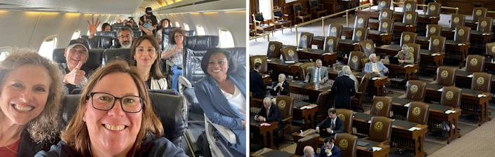 LEFT: State Rep. Julie Johnson of Farmers Branch took selfies with her Democratic colleagues on a coach bus bound for the Austin airport. Republicans used one of the photos, which included a case of Miller Lite, as fuel for criticism of the trip. RIGHT: Empty seats in the House chamber July 13 because of Democrats' departure meant there was not a quorum to pass GOP voting legislation.