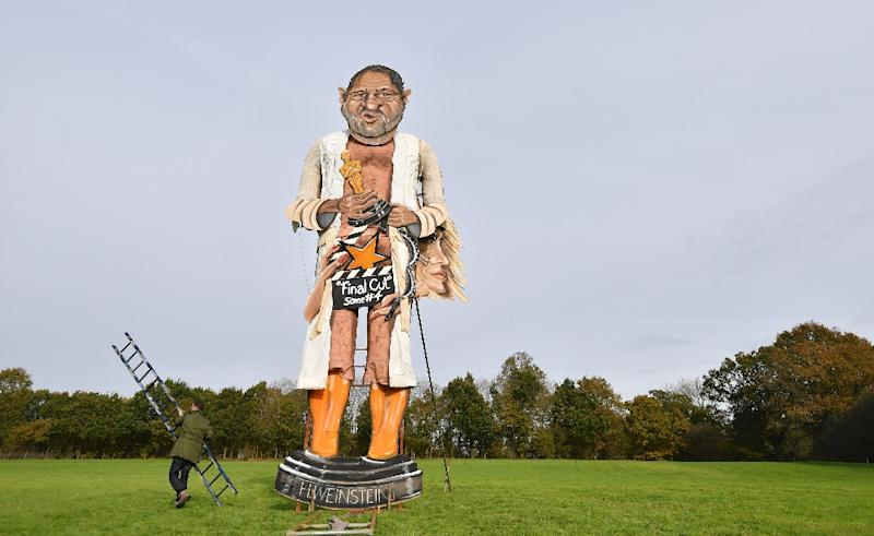 The 11-metre (36-foot) effigy of Weinstein will go up in flames on Saturday in Edenbridge, south of London. (AFP Photo/Ben STANSALL)