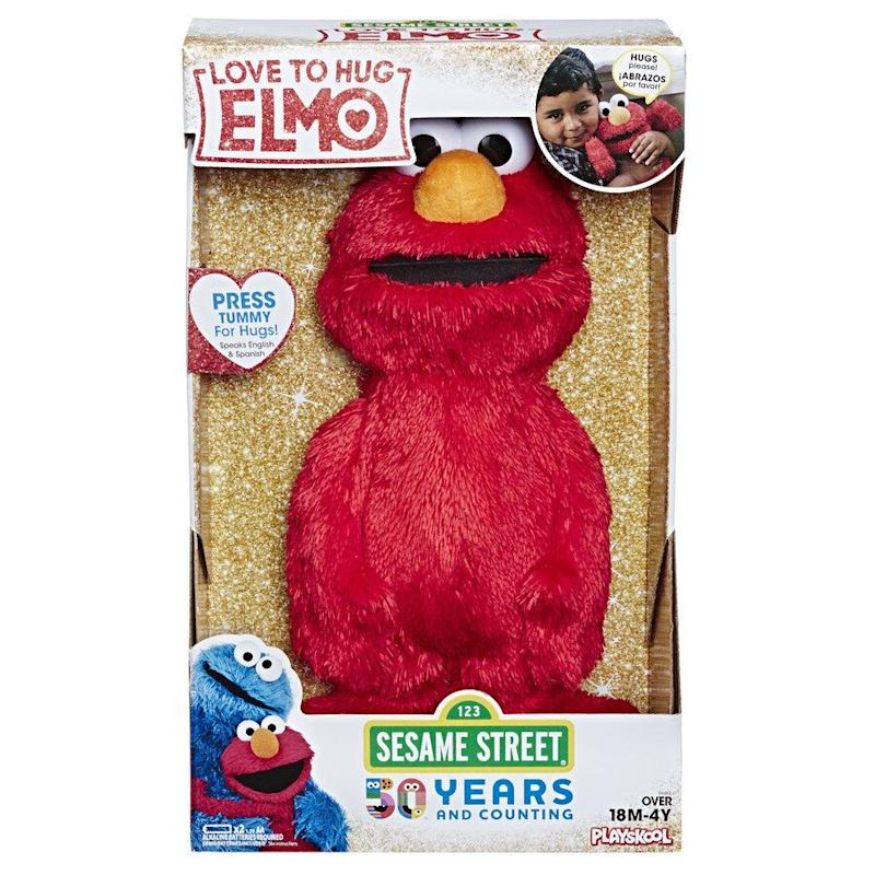 "Elmo loves to give hugs, and he loves when YOU hug him, too!&nbsp;<strong>Ages:</strong> 18 months +&nbsp;<strong>Get it at</strong>: <a href=""https://www.walmart.ca/en/ip/sesame-street-love-to-hug-elmo-plush-toy/6000199756356"" target=""_blank"" rel=""noopener noreferrer"">Walmart</a>, $34.94"
