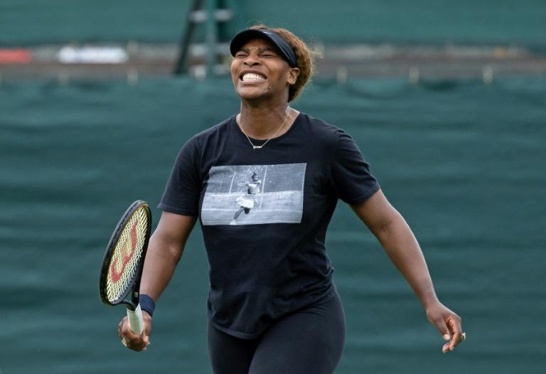 'X on my back': Serena Williams in a practice session