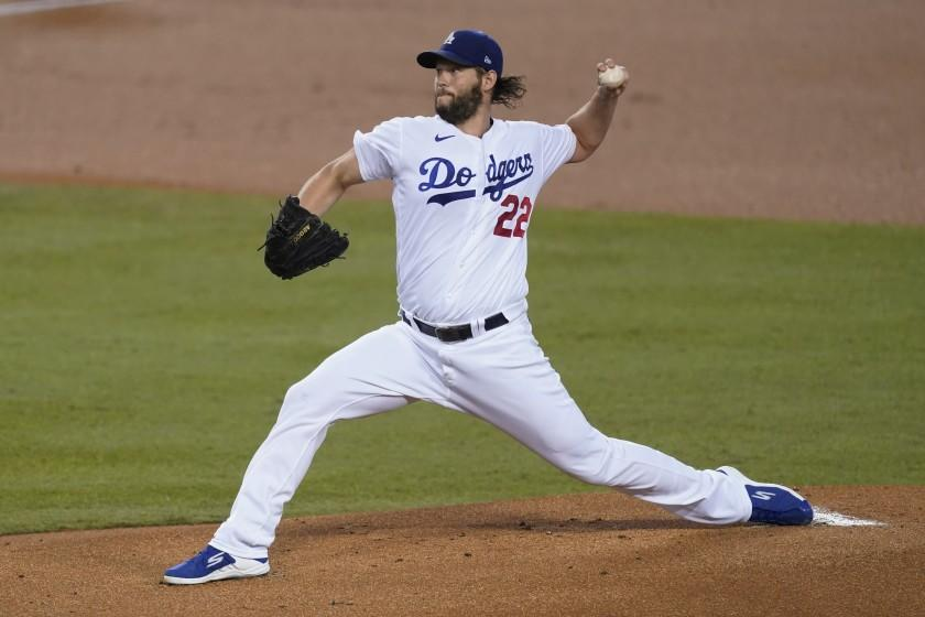 Los Angeles Dodgers starting pitcher Clayton Kershaw throws during the first inning of the team's baseball game.