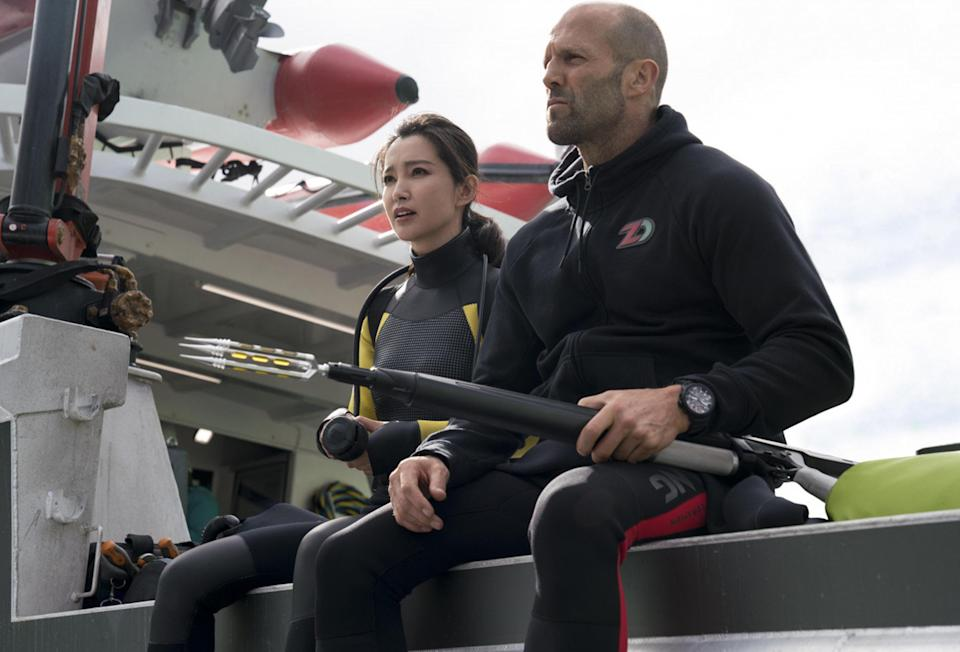 Li Bingbing and Jason Statham in The Meg (2018) (Rex Features)