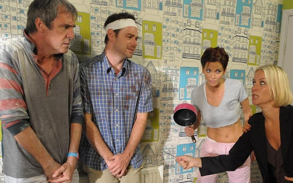 Neil Morrissey, Danny Dyer, Sarah Harding and Denise van Outen in Run for Your Wife