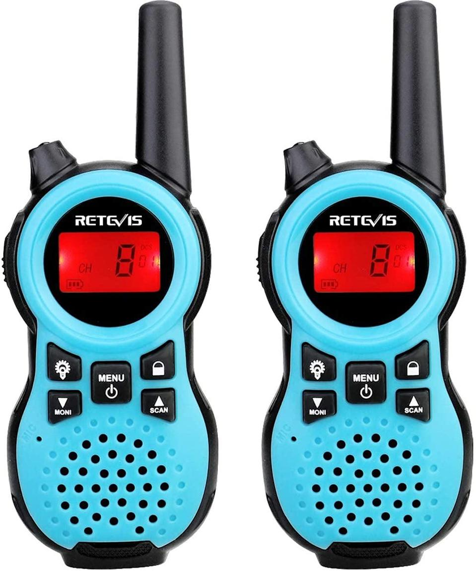 <p>If you're driving with other cars, then these <span>Walkie Talkies</span> ($20) would be a smart purchase. There will be times when you drive through areas without cell phone service, so it's always good to have an alternative. It's also much easier to pick up the walkie talkie and start chatting with someone, rather than constantly redialing their number and waiting by your phone. </p>