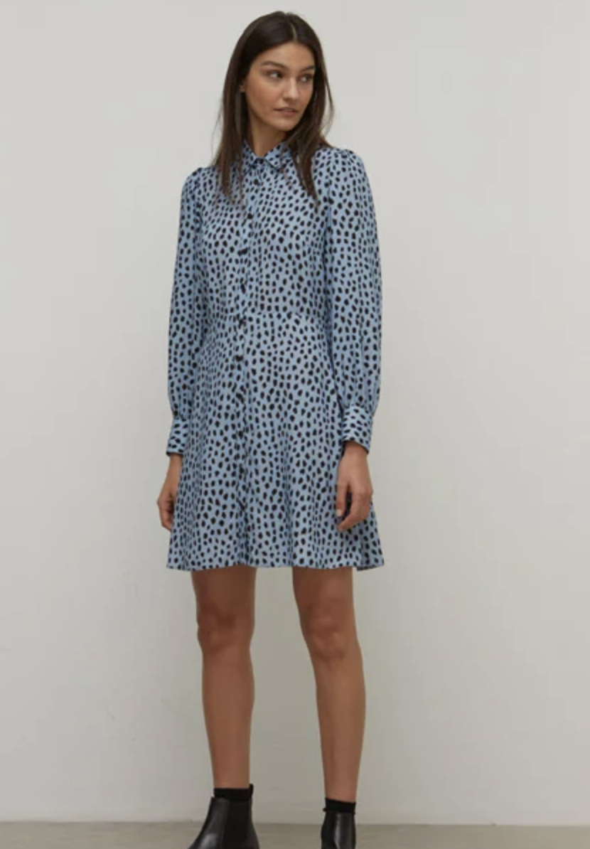 Black and Blue Small Smudge Tessie Mini Shirt Dress