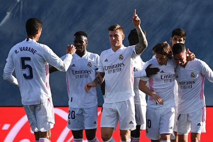 Real Madrid celebrate a Toni Kroos goal (AFP via Getty Images)