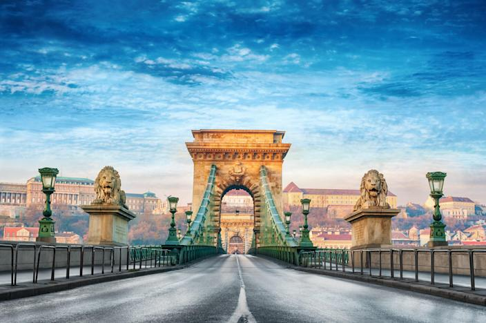 Designed by the British-born engineer William Tierney Clark, Budapest's Széchenyi Chain Bridge opened in 1849 and crosses the mighty Danube river.