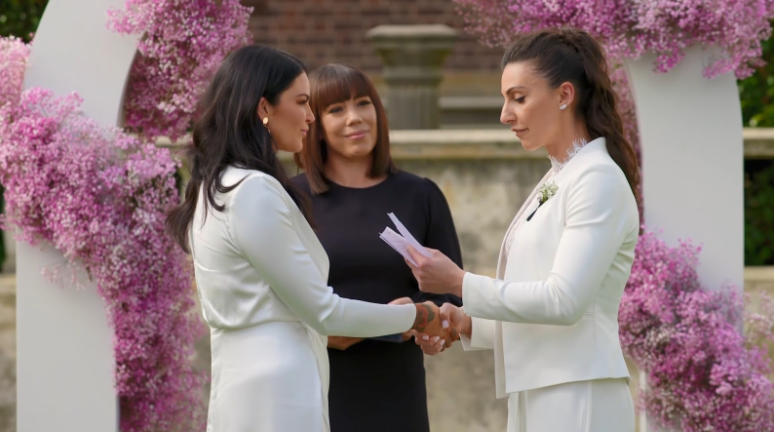 Amanda and Tash say their vows on Married at First Sight Australia. Source Nine Network