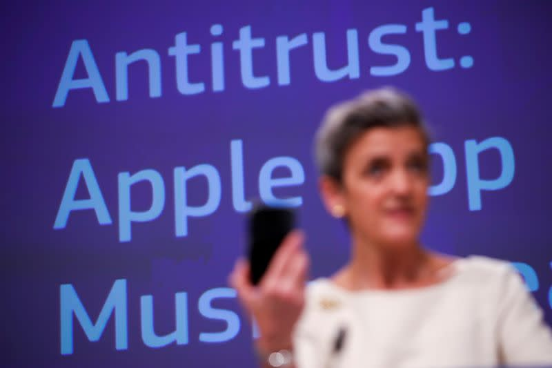 FILE PHOTO: EU's Vestager holds a news conference on Apple anti-trust complaint