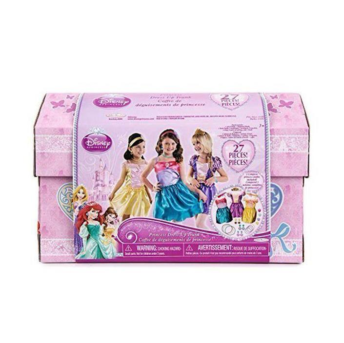 """<p><strong>Disney</strong></p><p>walmart.com</p><p><strong>$56.92</strong></p><p><a href=""""https://go.redirectingat.com?id=74968X1596630&url=https%3A%2F%2Fwww.walmart.com%2Fip%2F542323979&sref=https%3A%2F%2Fwww.goodhousekeeping.com%2Fchildrens-products%2Ftoy-reviews%2Fg28133058%2Fbest-gifts-for-5-year-old-girls%2F"""" rel=""""nofollow noopener"""" target=""""_blank"""" data-ylk=""""slk:Shop Now"""" class=""""link rapid-noclick-resp"""">Shop Now</a></p><p>She can <strong>let her imagination go and role-play</strong> with the 27 mix-and-match pieces in this dress-up trunk that includes complete outfits for Ariel, Belle and Rapunzel. <em>Ages 3+</em></p>"""