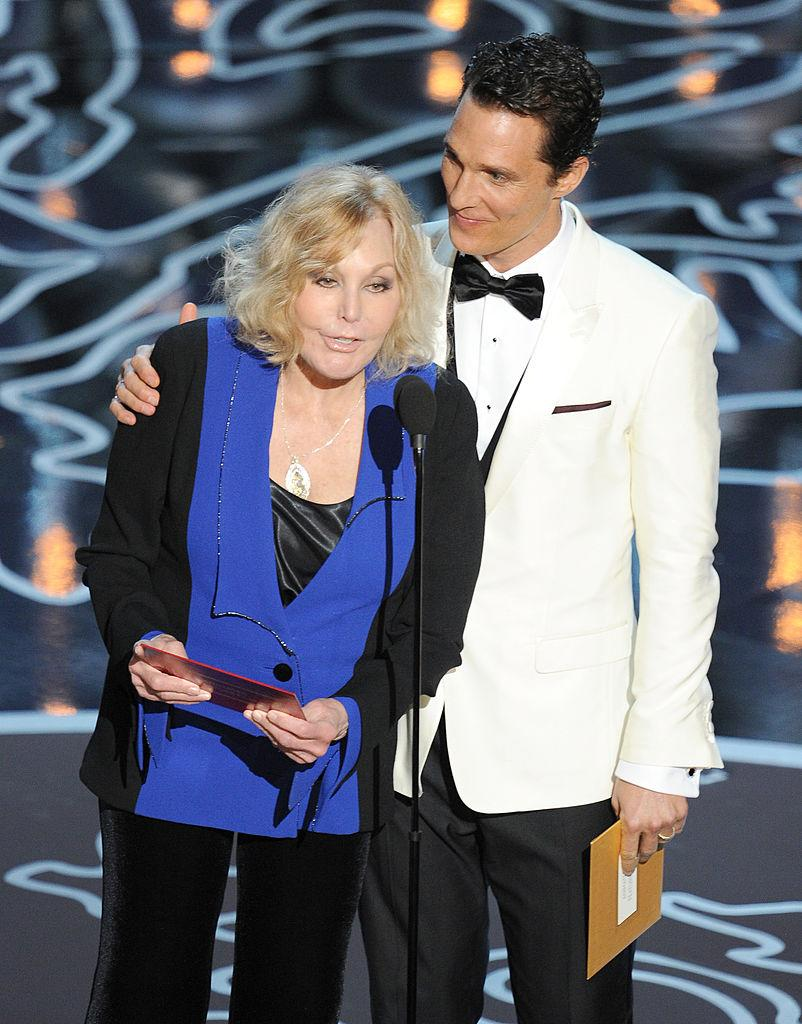 Kim Novak and Matthew McConaughey speak at the Oscars on March 2, 2014. (Photo: Kevin Winter/Getty Images)