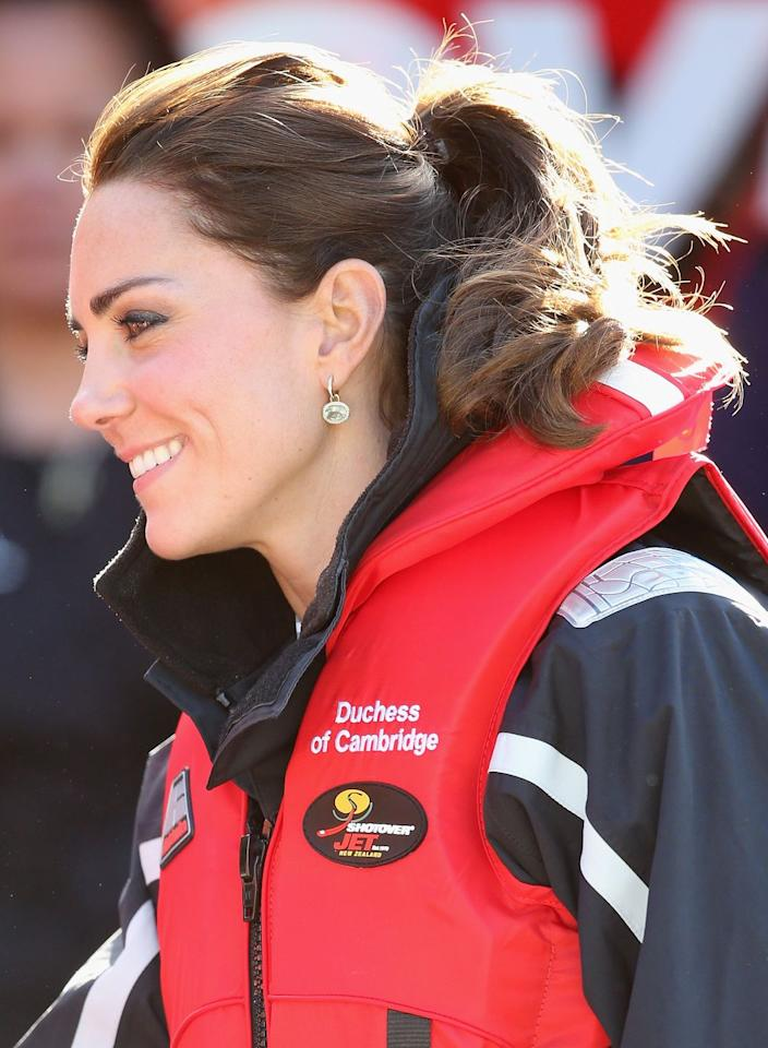 <p>A river ride on the Shotover Jet in New Zealand called for a sporty, no-fuss ponytail for the Duchess.</p>