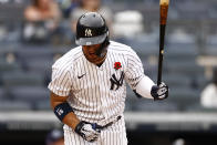 New York Yankees' Gleyber Torres reacts after flying out during the fourth inning of a baseball game against the Tampa Bay Rays on Monday, May 31, 2021, in New York. The Rays won 3-1. (AP Photo/Adam Hunger)
