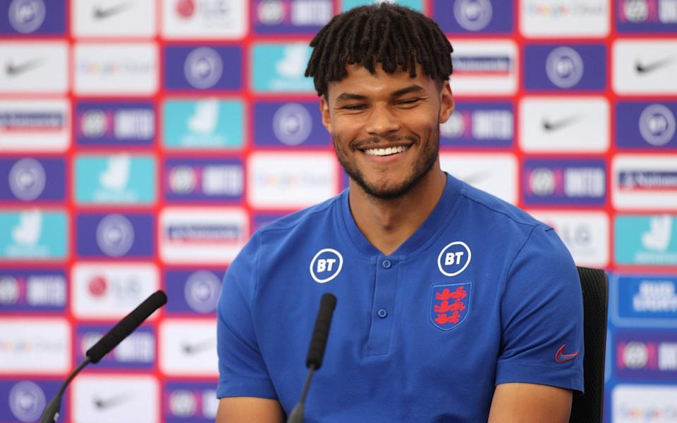 Tyrone Mings speaks to the press ahead of England's meeting with Scotland in Group D - GETTY IMAGES