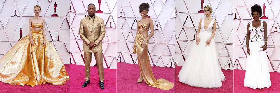 This combination shows nominees, from left, Carey Mulligan, Leslie Odom, Jr., Andra Day, Maria Bakalova and Viola Davis at the Oscars on Sunday, April 25, 2021, at Union Station in Los Angeles. (AP Photo/Chris Pizzello, Pool)