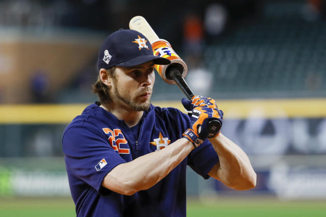 Houston Astros right fielder Josh Reddick prepares to take batting practice before Game 6 of the baseball World Series against the Washington Nationals Tuesday, Oct. 29, 2019, in Houston.(AP Photo/Matt Slocum)