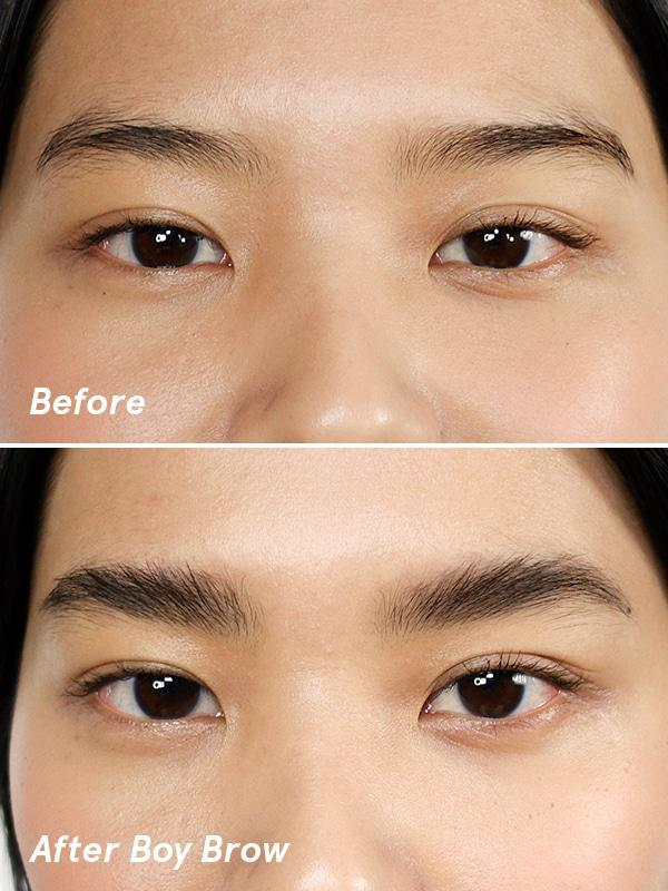 Boy Brow comes in four shades: black, brown, blonde and clear.