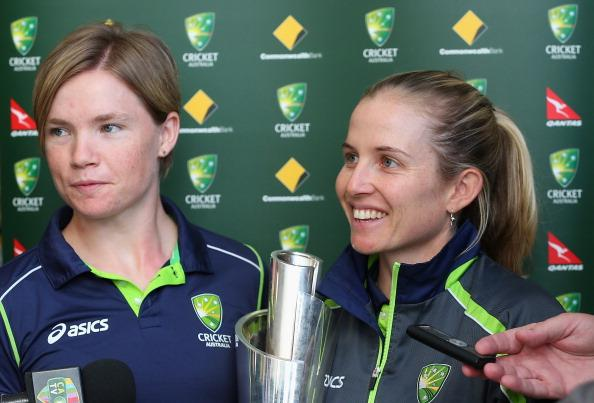 MELBOURNE, AUSTRALIA - OCTOBER 09:  Jessica Cameron and Jodie Fields of the Southern Stars talk to the media after arriving back home to Australia after winning the 2012 ICC Women's T20 World Cup, at Melbourne International Airport on October 9, 2012 in Melbourne, Australia.  (Photo by Quinn Rooney/Getty Images)