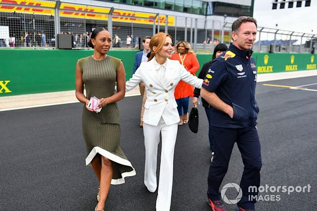 "Melanie C, Geri Horner y Christian Horner, Team Principal, Red Bull Racing <span class=""copyright"">Mark Sutton / Motorsport Images</span>"