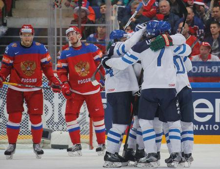Ice Hockey - 2016 IIHF World Championship - Semi-final - Finland v Russia - Moscow, Russia - 21/5/16 - Players of Finland celebrate a goal. REUTERS/Maxim Shemetov