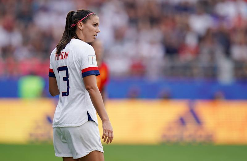 USA's Alex Morgan Spain v United States - FIFA Women's World Cup 2019 - Round of 16 - Stade Auguste-Delaune II 24-06-2019 . (Photo by John Walton/EMPICS/PA Images via Getty Images)